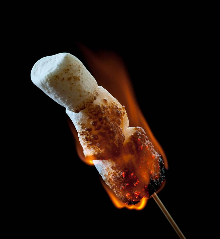 burning marshmallow
