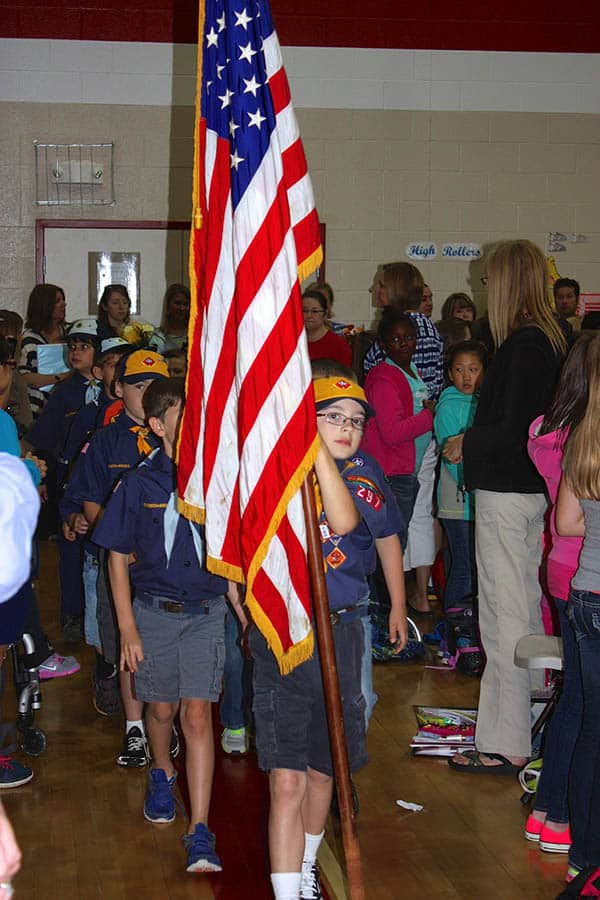 cub scout flag ceremony at school assembly