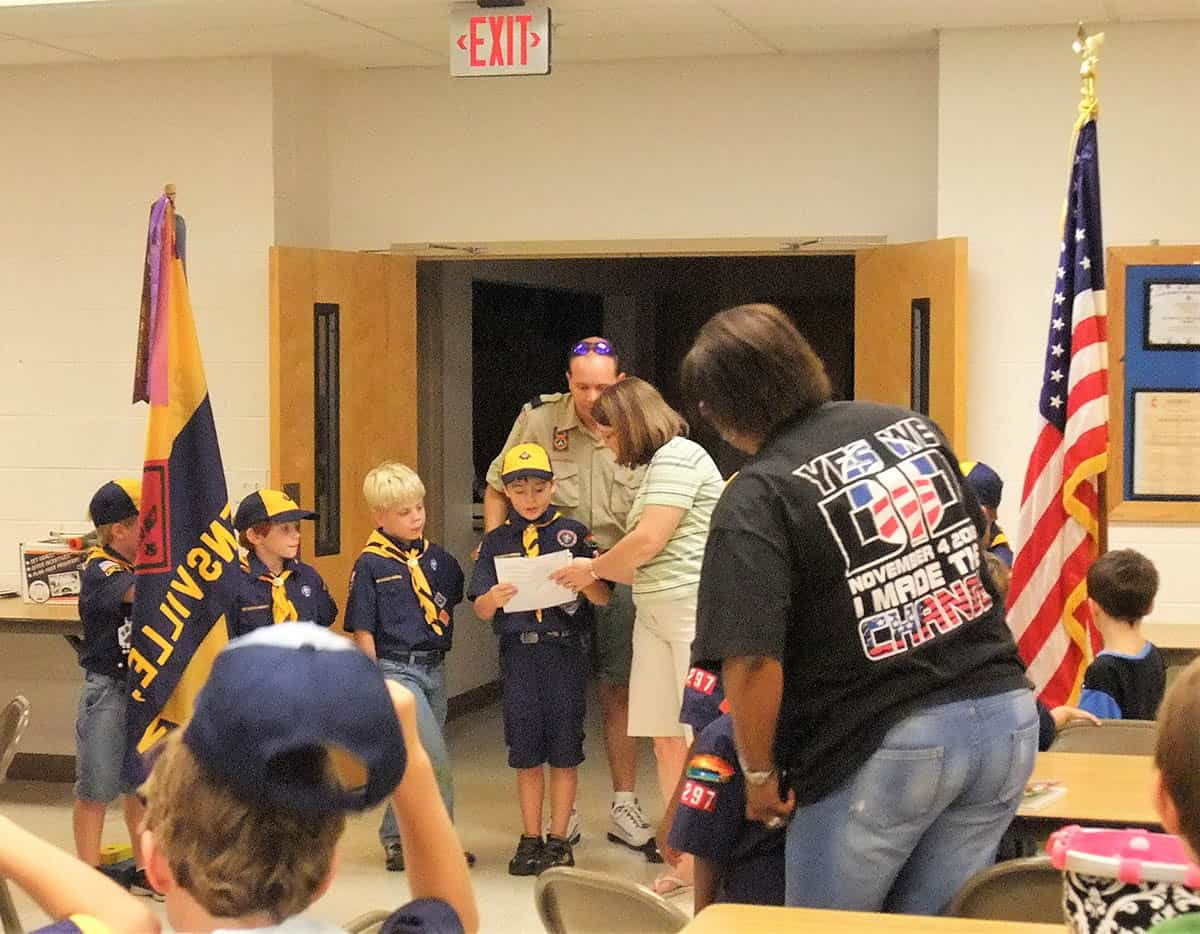 cub scout flag ceremony helping caller
