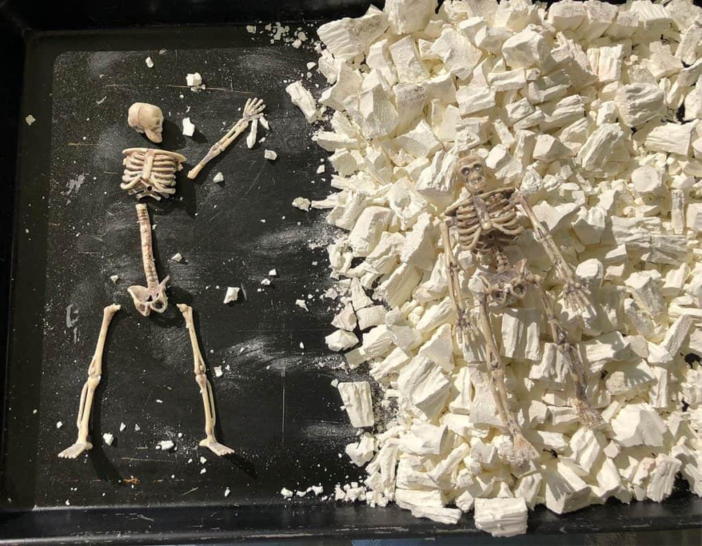 finding bones in cub scout dinosaur dig