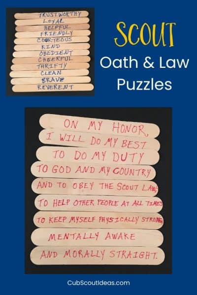 Cub Scout Oath and Law Puzzles