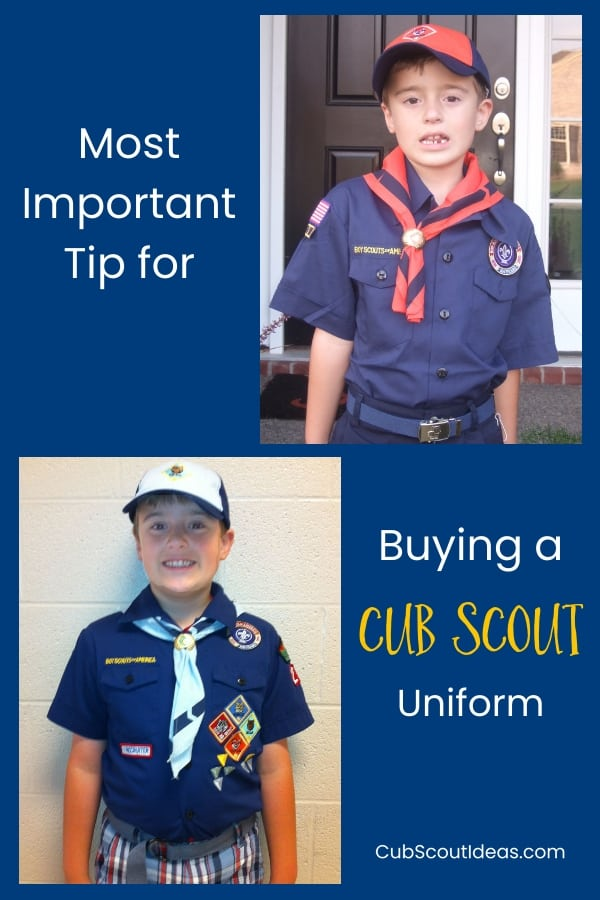When your child first joins Cub Scouts, he or she will need a Cub Scout uniform. Find out THE most important tip for buying that uniform. #CubScouts #CubScout #Scouting #Webelos #ArrowOfLight #CubScoutUniform