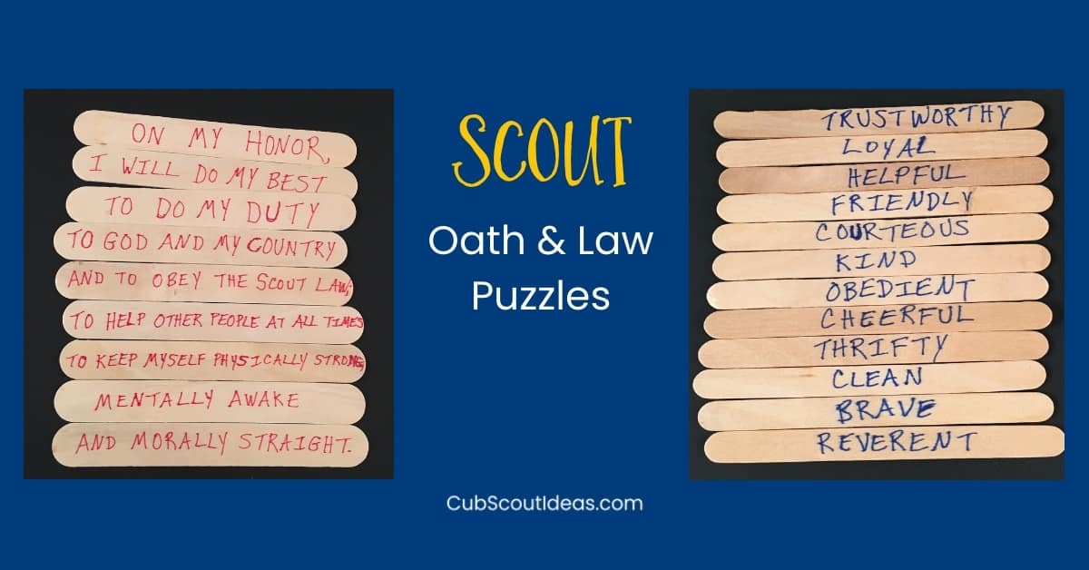 Oath and Law Puzzles for Cub Scouts