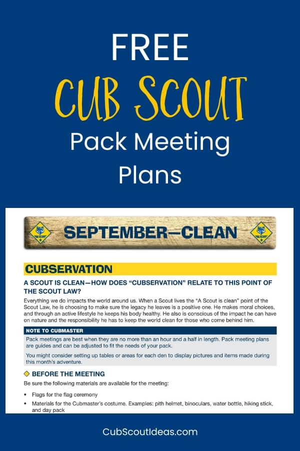These FREE Cub Scout pack meeting plans are useful for much more than pack meeting ideas. Use parts of them for special events or den meetings. You'll find this year's plans in addition to prior years. Awesome Cub Scout resource!
