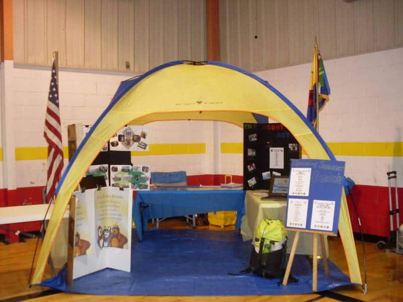 Cub Scout recruitment display with tent
