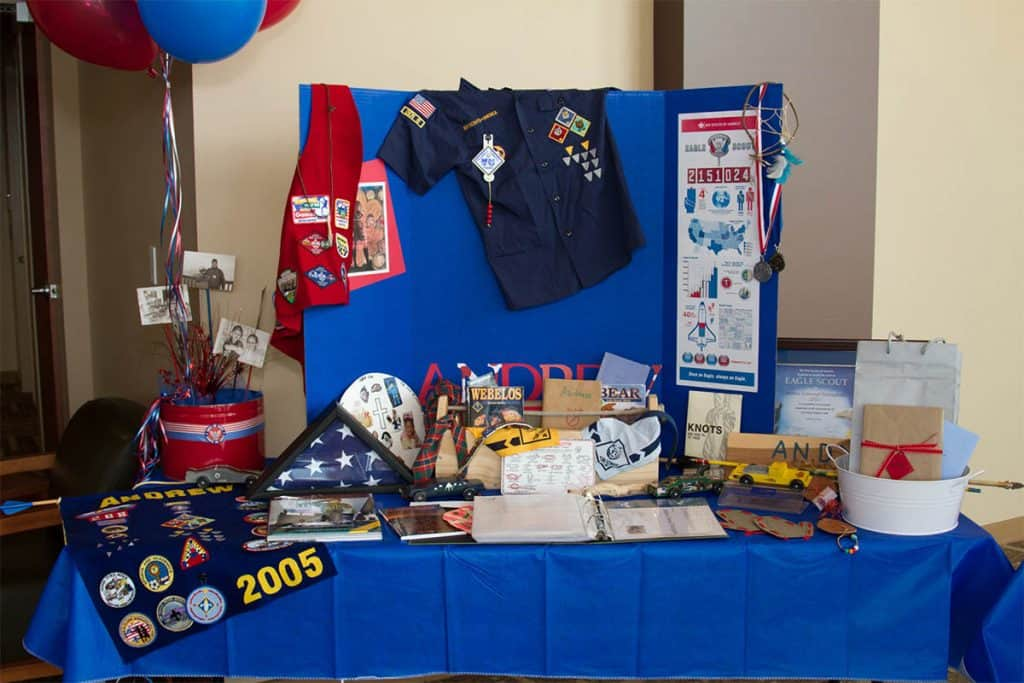 Eagle Scout display for Cub Scout recruitment