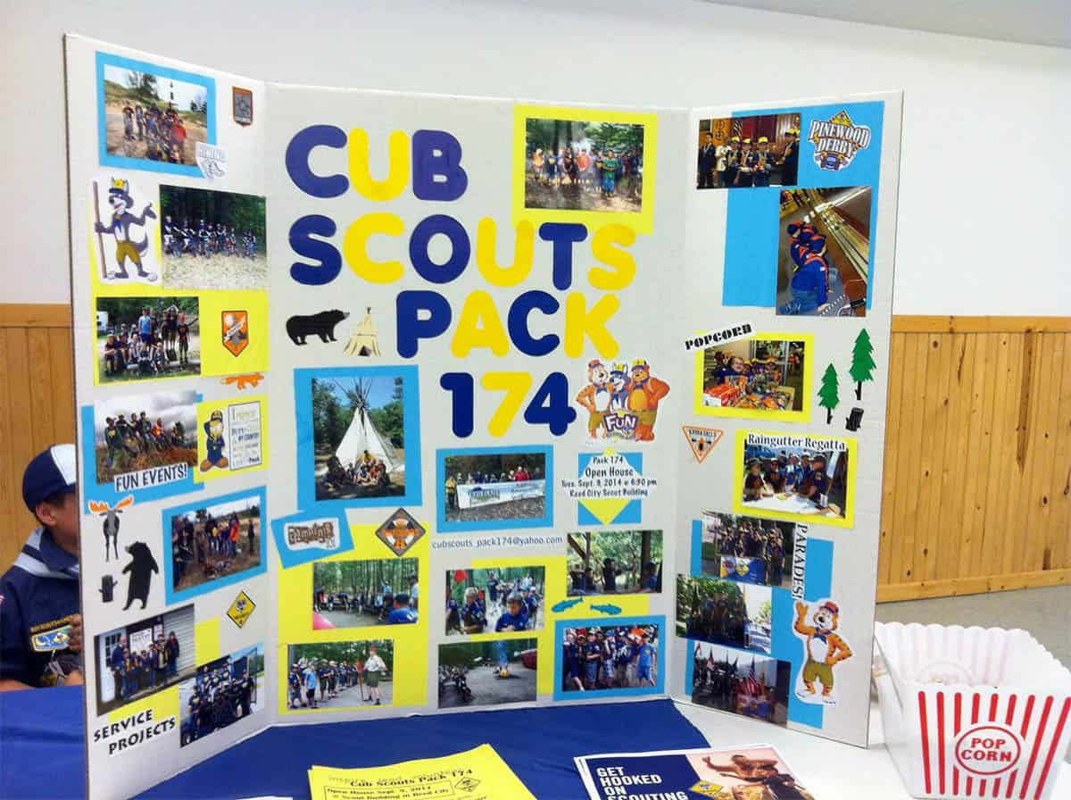 Colorful Cub Scout Display highlighting activities