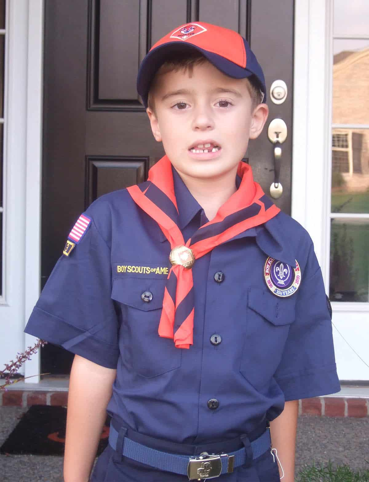 tiger cub scout wearing uniform