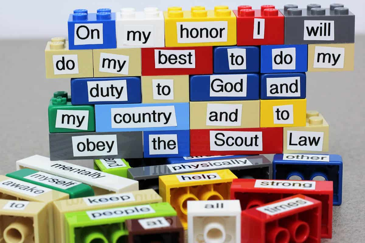 scout oath law with legos