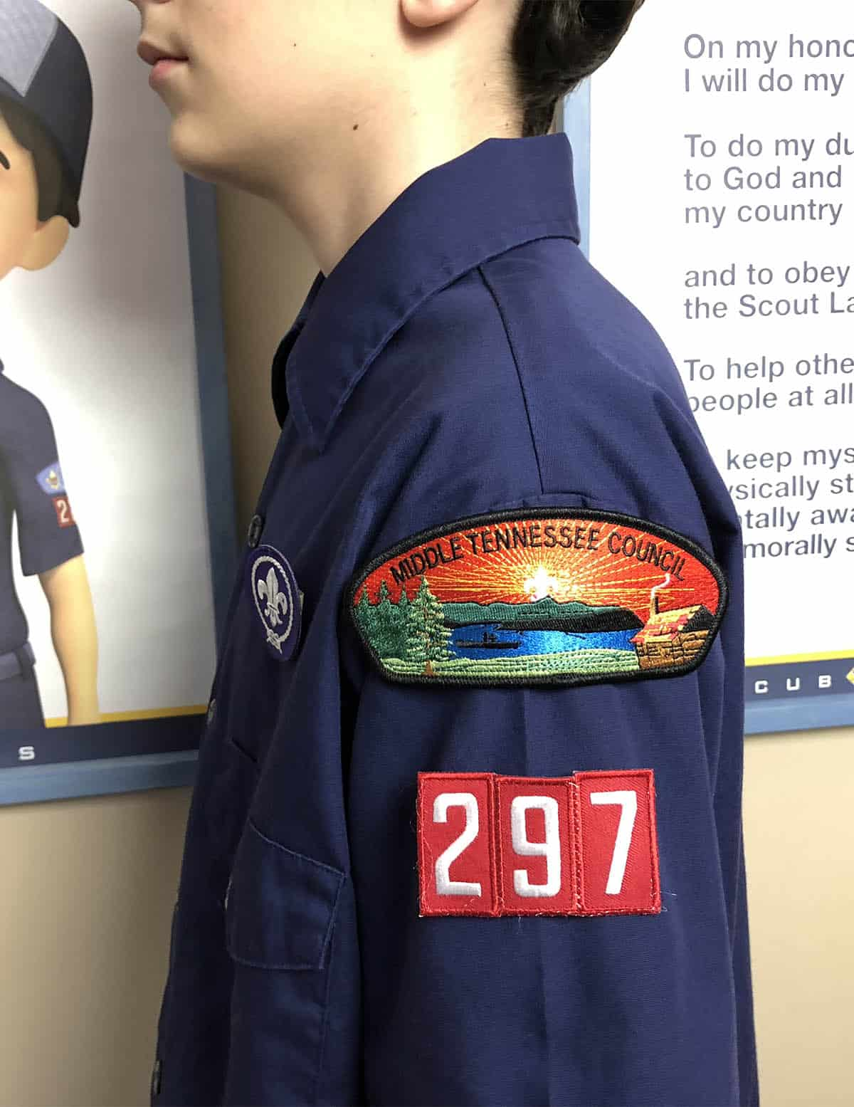 council patch and pack number on Cub Scout uniform