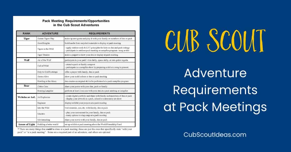 Requirements at Cub Scout pack meetings