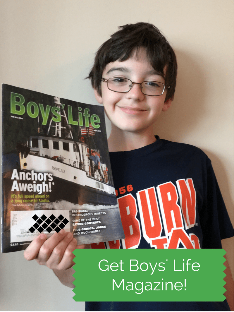 boy with boys' life magazine