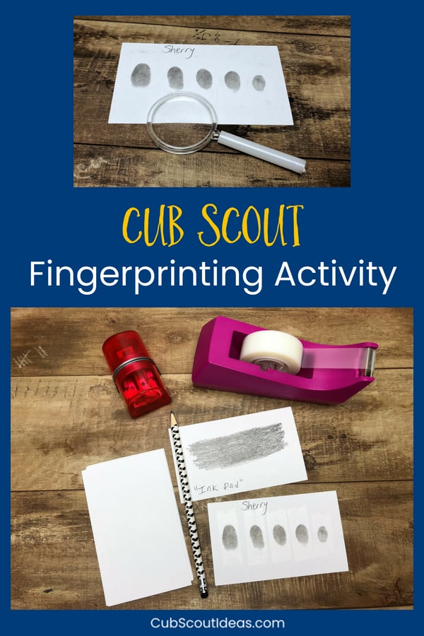 This easy kids' fingerprint activity helps them learn how to take their own fingerprints. They'll have fun using science to analyze their fingerprints and to compare them to their friends. This method isn't as messy as others. It's a great activity for the Bear Cub Scout elective adventure, Forensics. #CubScouts #CubScout #Scouting #BearCubScout #STEM #STEMforKids #KidsActivities #CubScoutIdeas