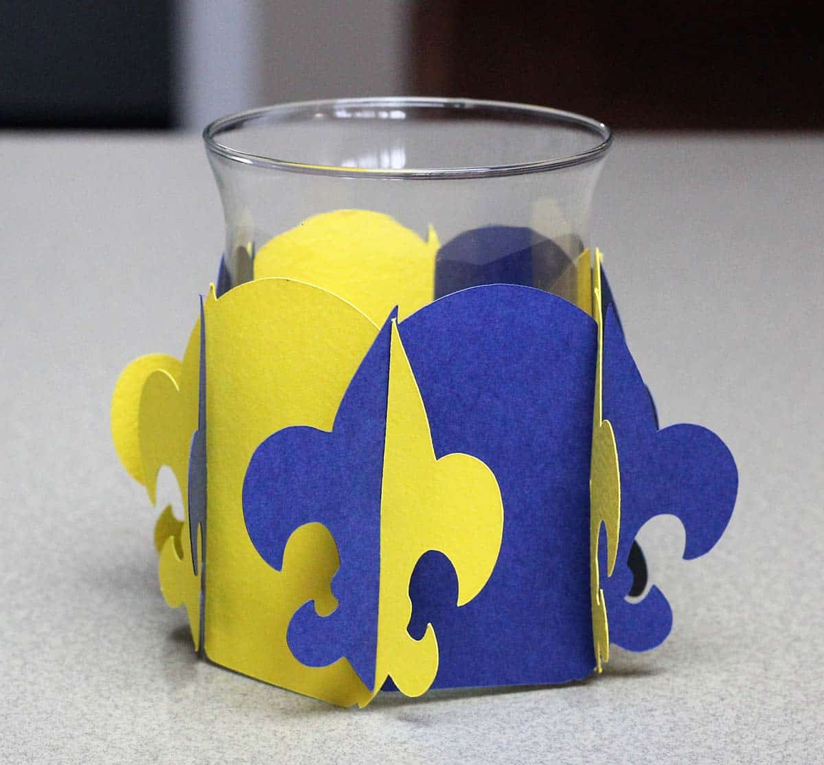 Cub Scout candleholder wrapper made with Cricut