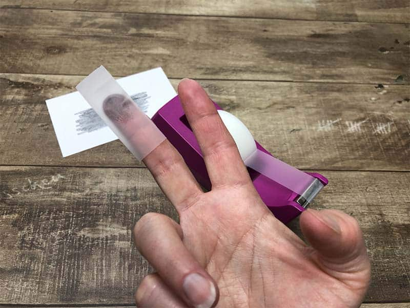 finger on tape for fingerprinting activity