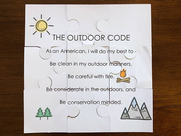 Outdoor Code for Cub Scouts Puzzle