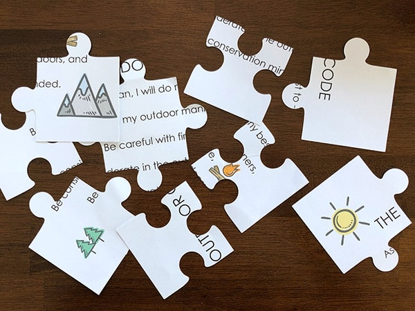 Jumbled Cub Scout Outdoor Code