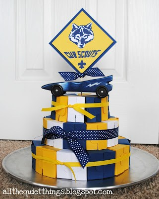 blue and gold box cake all the quiet things