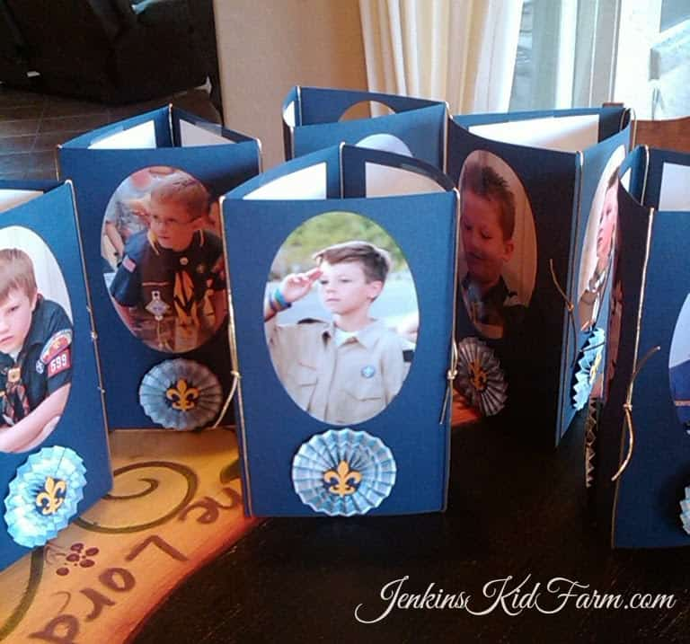 blue and gold centerpiece with photos