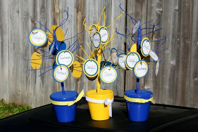 blue and gold table centerpieces trees