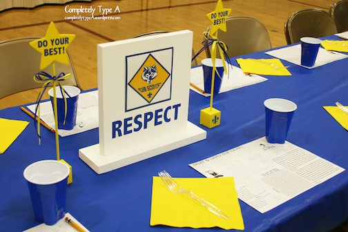 scout law blue and gold centerpieces completely type a