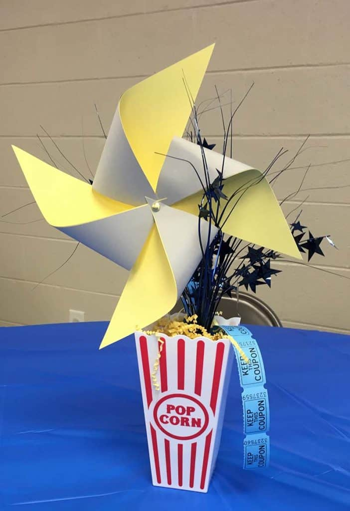 carnival blue and gold centerpieces