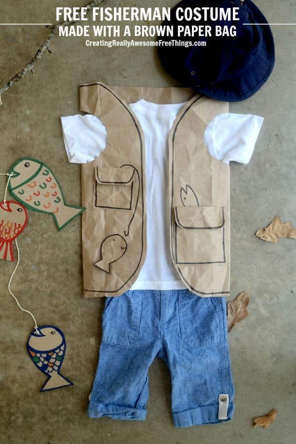 paper bag fisherman costume