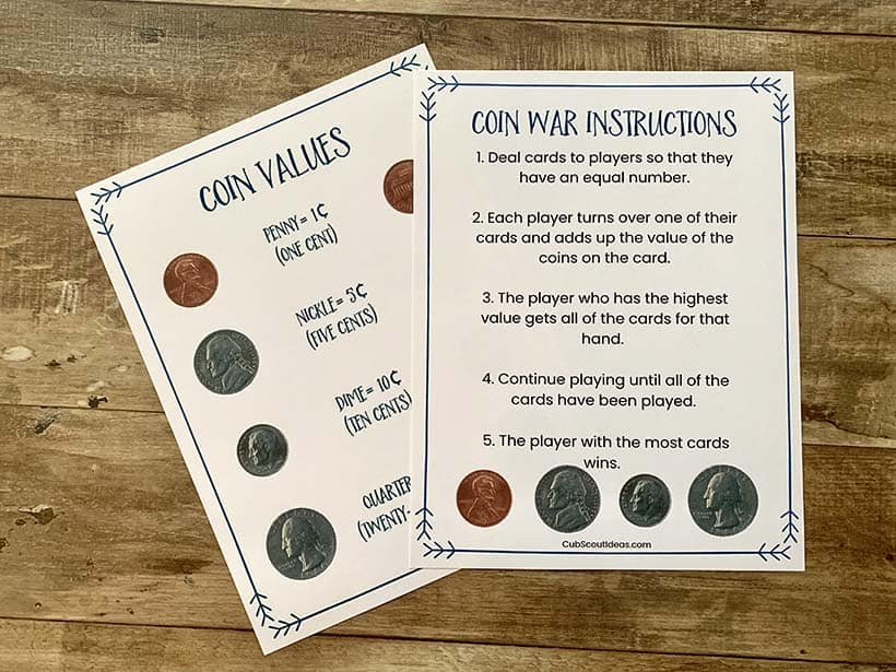 coin war instruction and values sheet