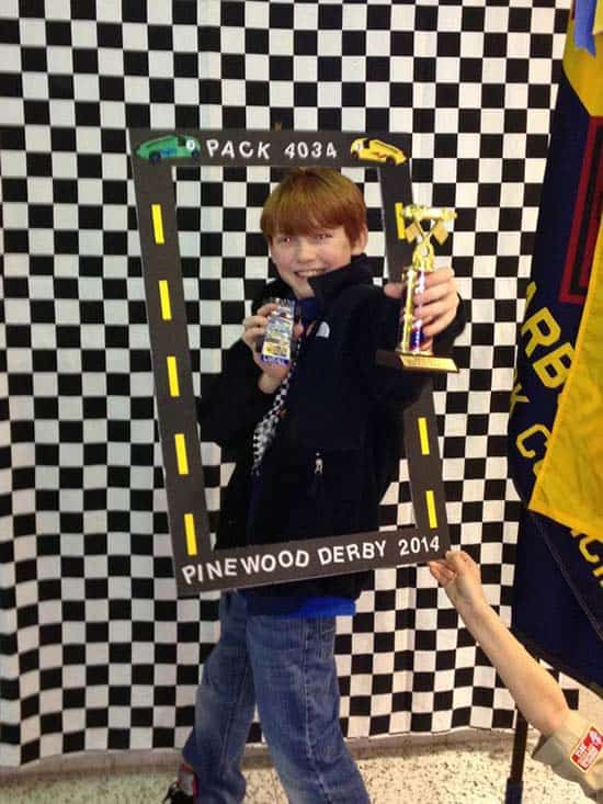 photo frame for Cub Scout pinewood derby