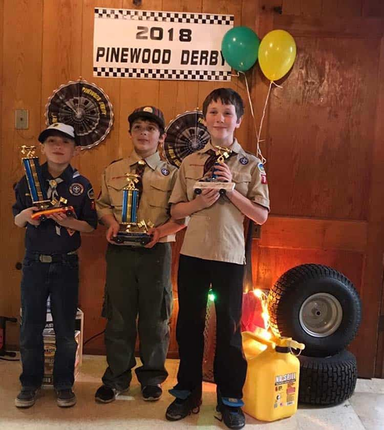 Cub Scouts winning pinewood derby