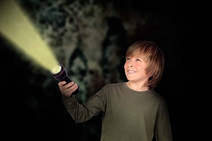 boy with flashlight