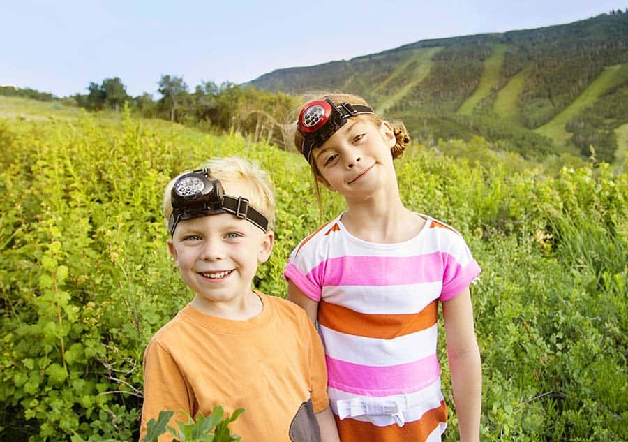 kids with headlamps