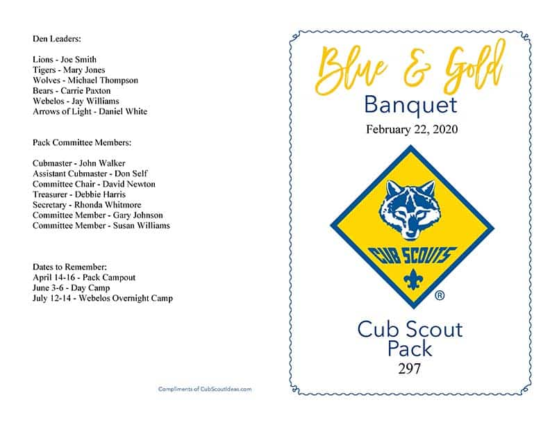 Blue and Gold Banquet Program Sample outside