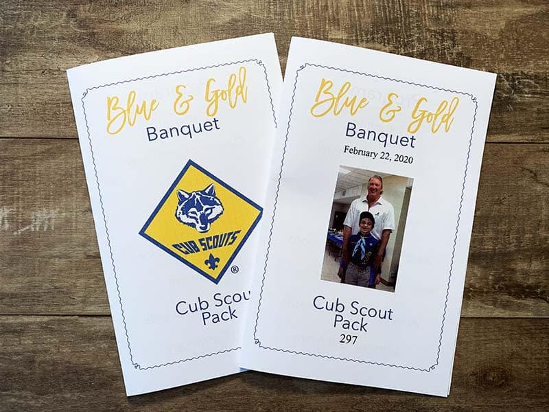 blue and gold banquet program two versions