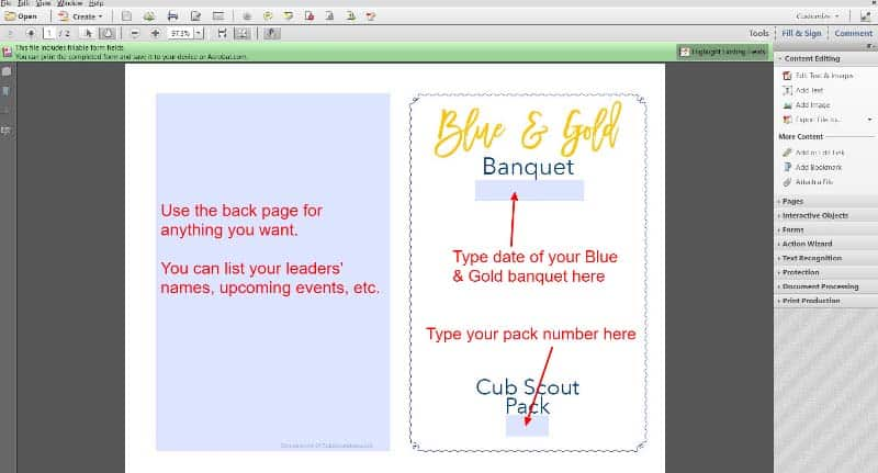 print cub scout banquet program screenshot