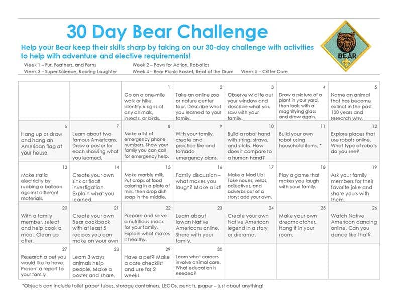 30 Day Bear Cub Scout Challenge