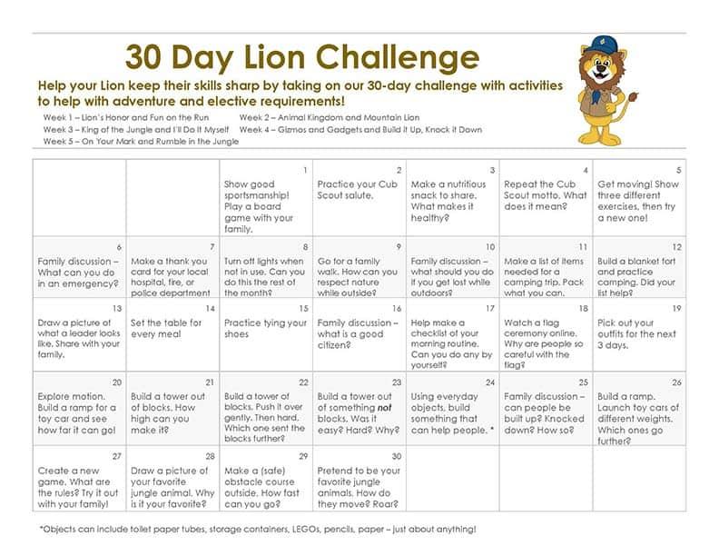 30 Day Lion Cub Scout Challenge