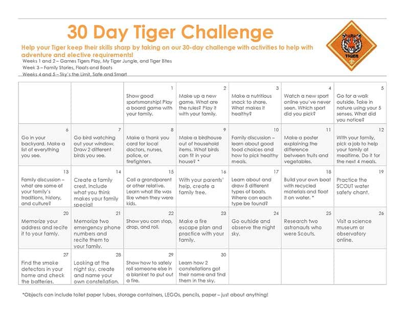 30 Day Tiger Cub Scout Challenge