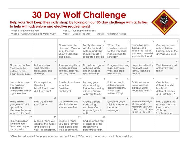30 Day Wolf Cub Scout Challenge