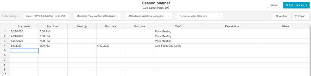 spond season planner