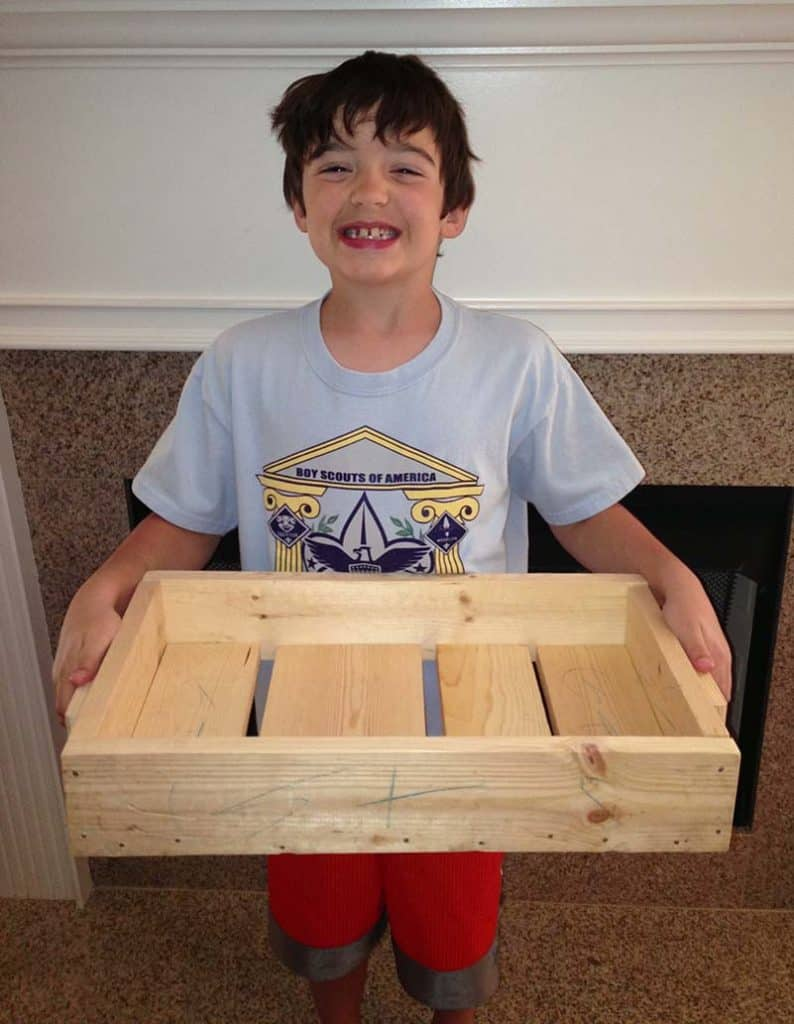 cub scout with diy wood project tray