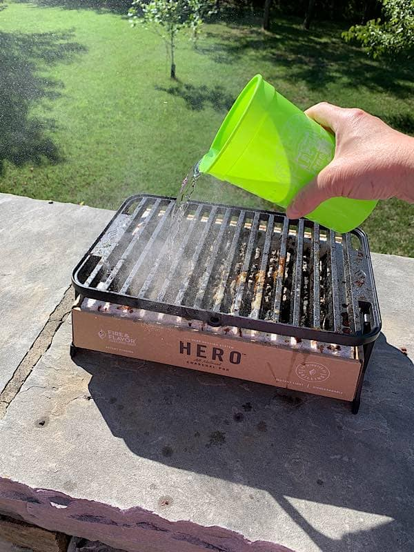 pour water on grill