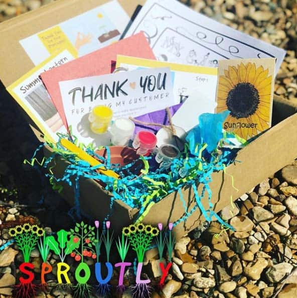 sproutly subscription box on rocks