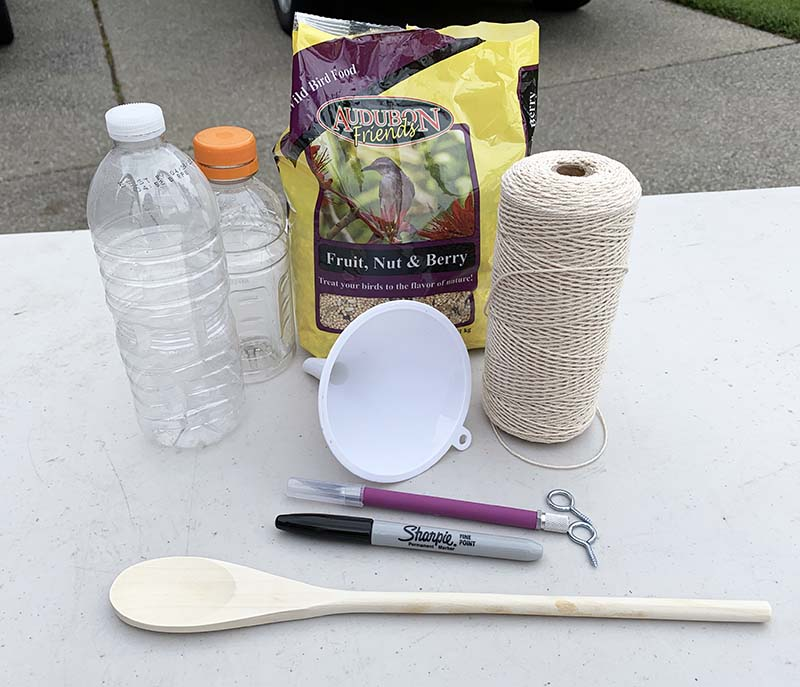 supplies for plastic bottle bird feeder