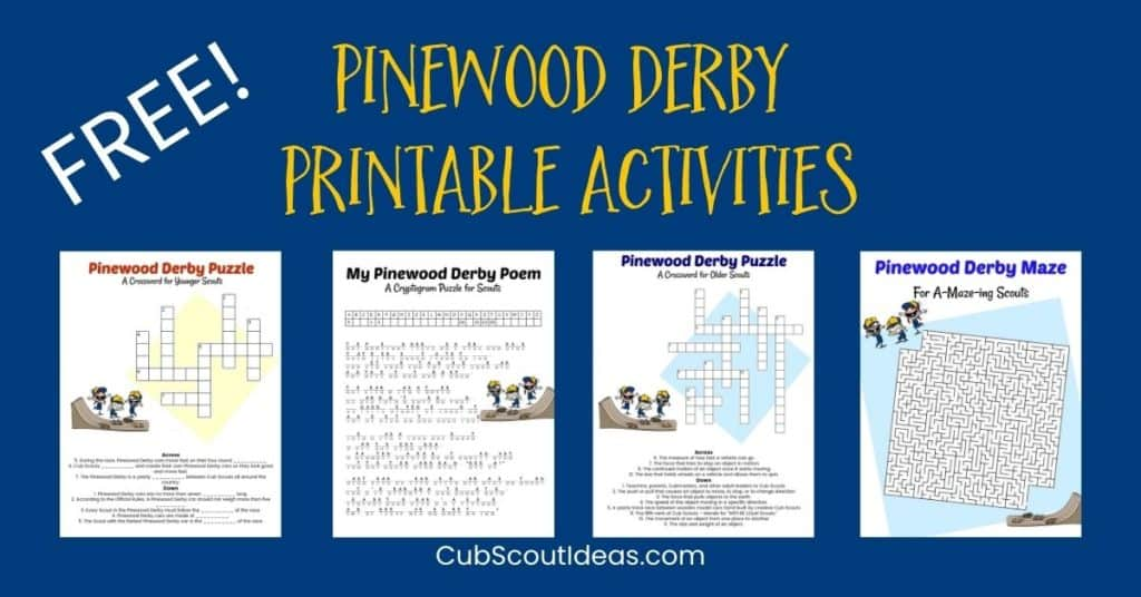 Free Pinewood Derby Printable Activities