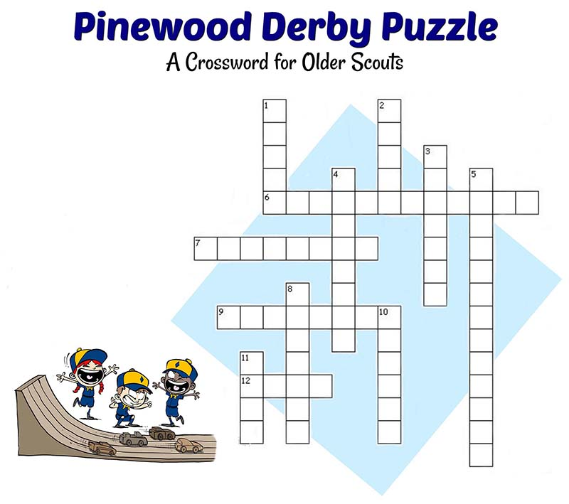Pinewood Derby Crossword Puzzle dapat dicetak