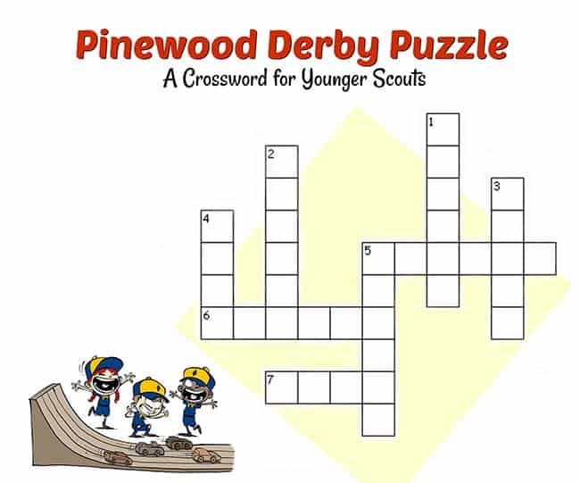 Pinewood Derby Easy Crossword Puzzle dapat dicetak