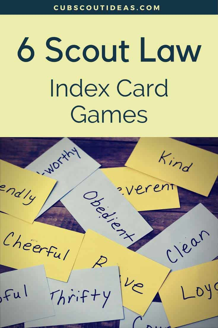 Scout Law Fun Index Card Games