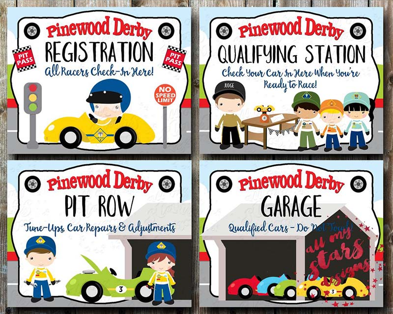 etsy pinewood derby signs