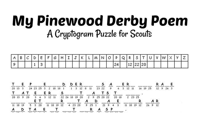 pinewood derby cryptogram poem printable
